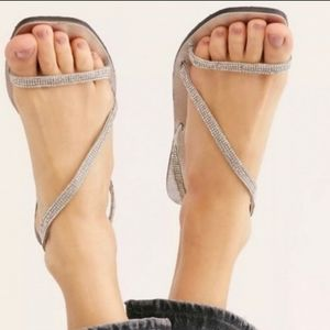 Free People Sandals Silver Crystal Cove Flats
